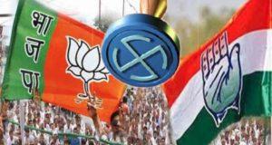 भाजपा के फूल पर भारी पड़ रहा है कांग्रेस का पंजा।